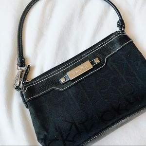 Black and Gold Calvin Klein Wristlet